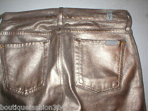 New 7 FAM Jeans For All Mankind Womens Leather Coated Gold Bronze ... 0203163859