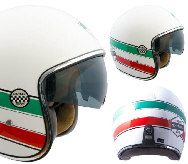 CASCO JET MOTO SCOOTER  VINTAGE CGM 133 ITALIA  OCCHIALE FUME' A SCOMPARSA