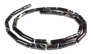 Sardonyx-Perlen-Roehrchen-Walzen-ca-13x4-mm-tolle-Edelsteinperlen-Strang