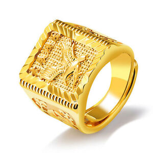 Eagle-Herren-Ring-Gold-Verstellbare-Chinese-Buchstaben-Fingerbaend-Verblassen-Nie