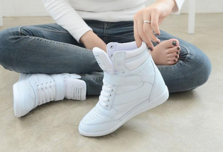 Womens lady Sneakers Lace Up Athletic High Top Wedge Heel Casual shoes Boots