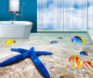 3D bluee Starfish Fish 7 Floor WallPaper Murals Wall Print Decal AJ WALL CA Lemon