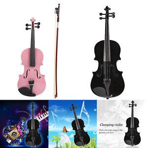Image is loading 1-8-Kids-Children-Natural-Acoustic-Violin-Fiddle-