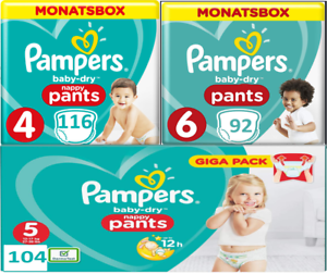 Pampers-Baby-Dry-nappy-Pants-Windeln-Monatsbox-Groesse-Gr-4-5-6