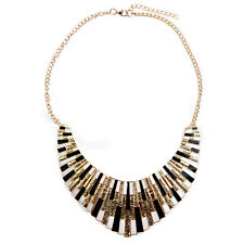 Chain fancy Jewelry Vintage Gold Necklace Style Woman Gift black and white AD