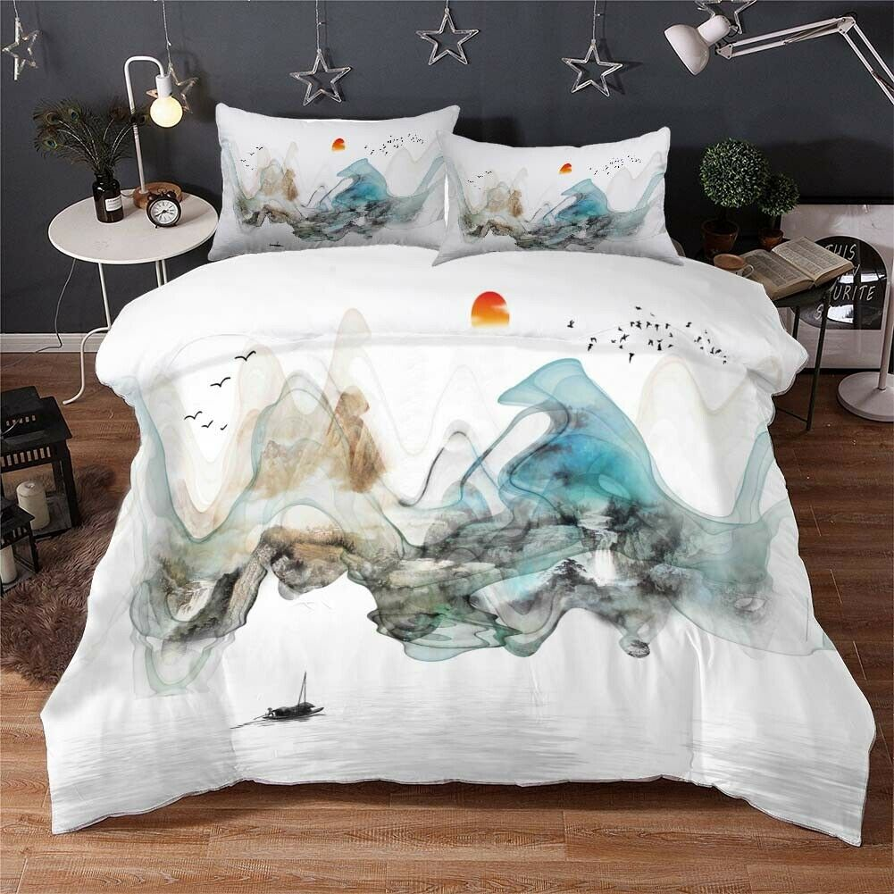 Cyan Ink Painting 3D Druckening Duvet Quilt Will Startseites Pillow Case Bettding Sets
