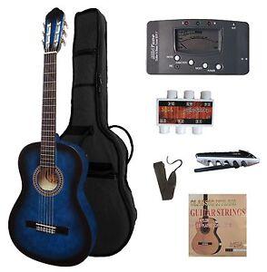 Gitarre4-4Konzert-classic-linkshaender-lefthand-blau-Set-Zubehoer-mit-Stimmgeraet-n
