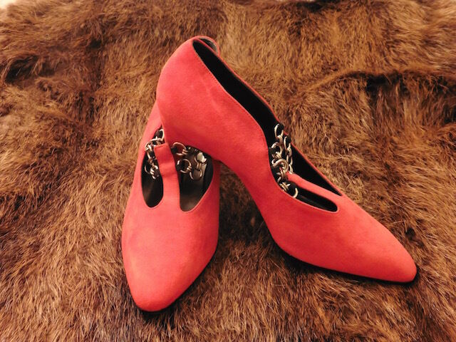 GREAT SHOE HEEL SILVY ALL LEATHER SUEDE RED VINTAGE 80 NEW T.35.5