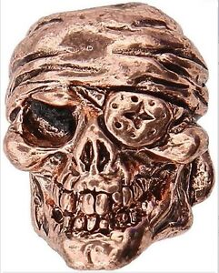 SCHMUCKATELLI Copper One Eyed Jack Skull EDC paracord pendant bead charm