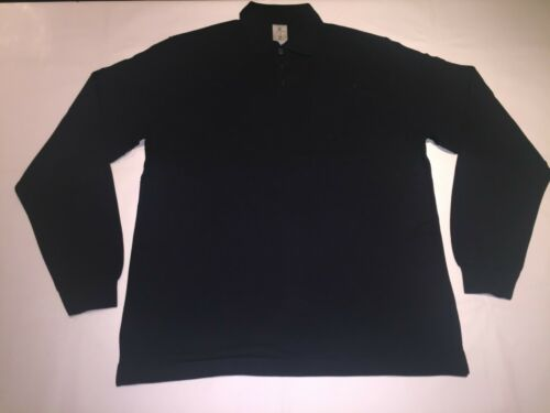 Navy in size L J7-36 New Mens B/&C Heavymill Long sleeve cotton Polo Shirt