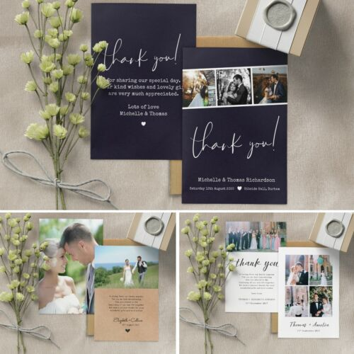 Personalised Photo Wedding Thank You cards inc Envelopes Double sided Postcard