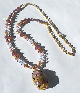 HER-ROYAL-HIGHNESS-Floral-Artisan-Lampwork-Crystal-Gold-plated-24-034-Necklace