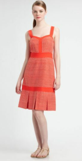 NWT  Tory Burch 'Berdine' Orange   Weiß Printed Dress in Größe 2