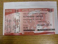 23/09/2006 BIGLIETTO: Leyton Orient V Rotherham United [COMPLETA BIGLIETTO, complimento