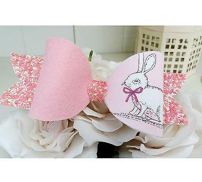 UK Handmade Hair Bow clip ~ Easter Bunny Ears ~ Pink Glitter!!