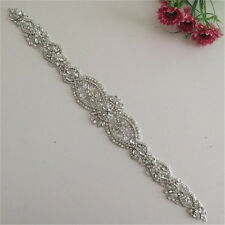 Exquisite Wedding Dress Belts Custom Made Beaded Crystal White Pearl Applique