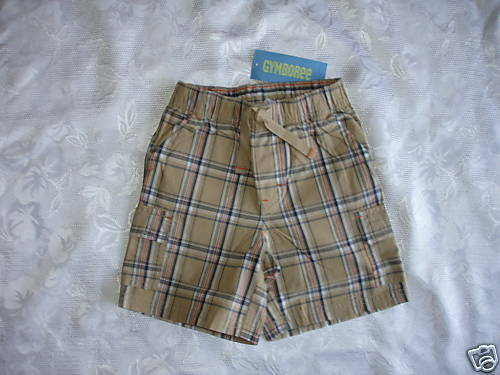 Boys GYMBOREE CONSTRUCTION AHEAD Plaid Shorts 12-18 NWT