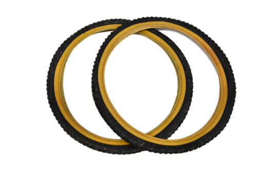"Pair 20/"" X 1.75/"" Bike Tyres Black With Amberwall Suit Junior BMX 2"
