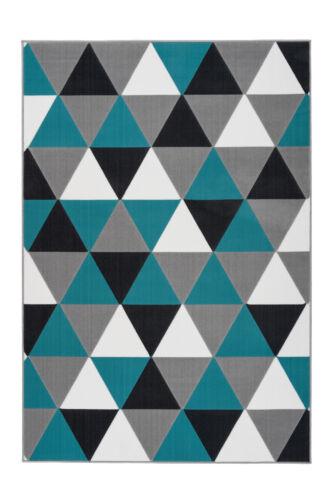 Tapis Moderne FLACHFLOR pavés triangle effet 3d Multi Turquoise 160x230cm