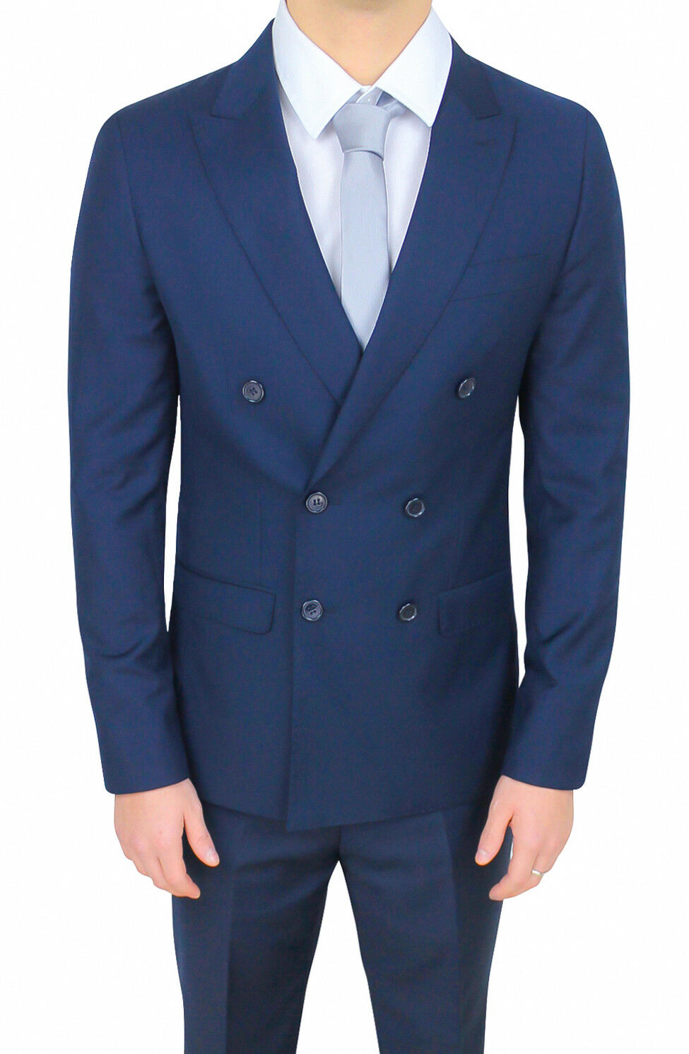 Men's suit sartoriale double-breasted satin blue formal bluee smoking ceremony