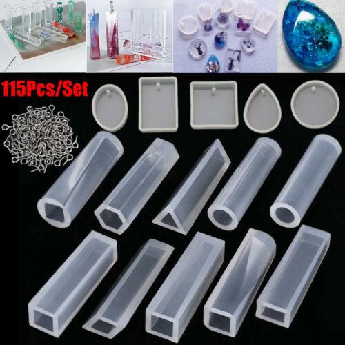 115X Silikonform Gießform Schmuck DIY Kristall Anhänger Mould Harz Halskette Set