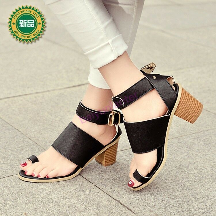 Womens Ankle Strap Buckle Block Heel Sandals Ring Toe PU Leather shoes Hot Sale