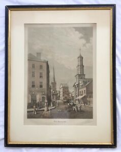 Large-Antique-WALL-STREET-IN-1820-Aquatint-Engraving-Signed-by-R-VARIN-1929