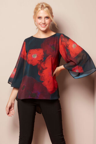 Roman Originals Women Floral Print Chiffon Overlay Top in Red size 10-20