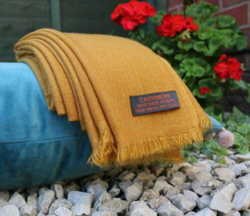 Warm /& Soft Cashmere Pashmina Scarf Shawl Warp Stole Handmade Mustard Colour