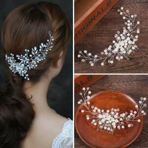 Pure-White-Crown-Pearl-Flower-Crystal-Hair-Pins-Bridal-Side-Comb-Jewelry-Wedding