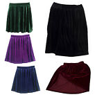 High Waisted Velvet Skater Pleated A-line Short Elasticized Soft Skirt K6W2