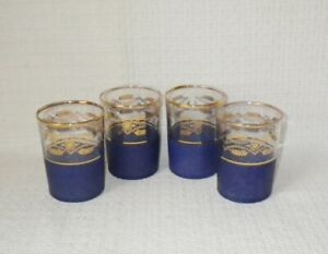 Mid-Century-Modern-Blue-Textured-amp-Gold-Mad-Men-Style-Old-Fashioned-Glasses-4