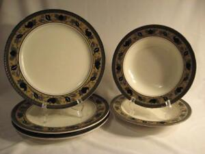 MIKASA INTAGLIO CAC01 ARABELLA DINNER PLATES (3) AND RIMMED SOUPS (2 ...