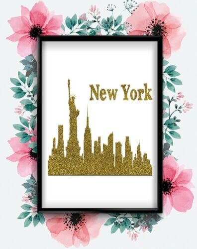 New York Skyline Gold Art Inspirational Abstract Art Poster Wall