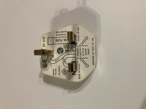 2x UK 13 A Blanc Secteur Plug 5 Amp 3 broches appareil Fuse Power Blanc Socket Adaptateur