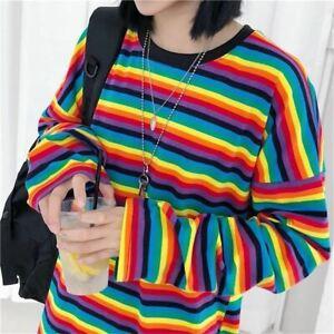 Details about Super Retro Rainbow Stripe Oversize Extra Long Sleeve Tee, Vintage 90s Fashion