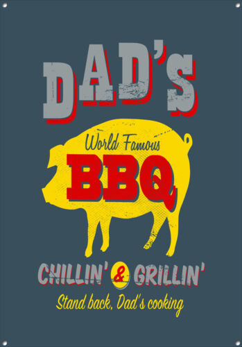 DAD'S BBQ  COLLECTABLE, VINTAGE STYLE, ENAMEL, METAL SIGN NO.630