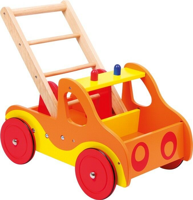 Lauflernwagen Feuerwehr Auto aus Holz Spielwagen Laufwagen für Kinder Babys Neu