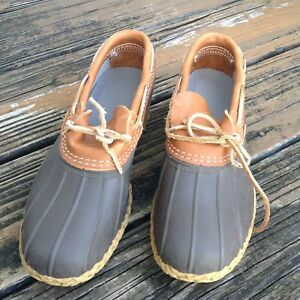 9ef7f195692 VINTAGE Men's LL Bean Brown Shoes Duck Boots 8 9 Rain Rubber Leather ...