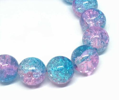 12pc 10mm round crackle glass bead pls pick a color