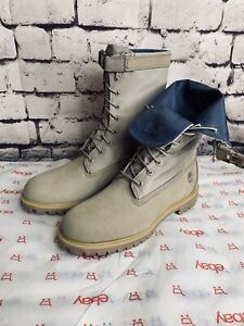 Details about Timberland Premium Mixed Media Gaiter Boot Dark Beige Nubuck Men SZ 13