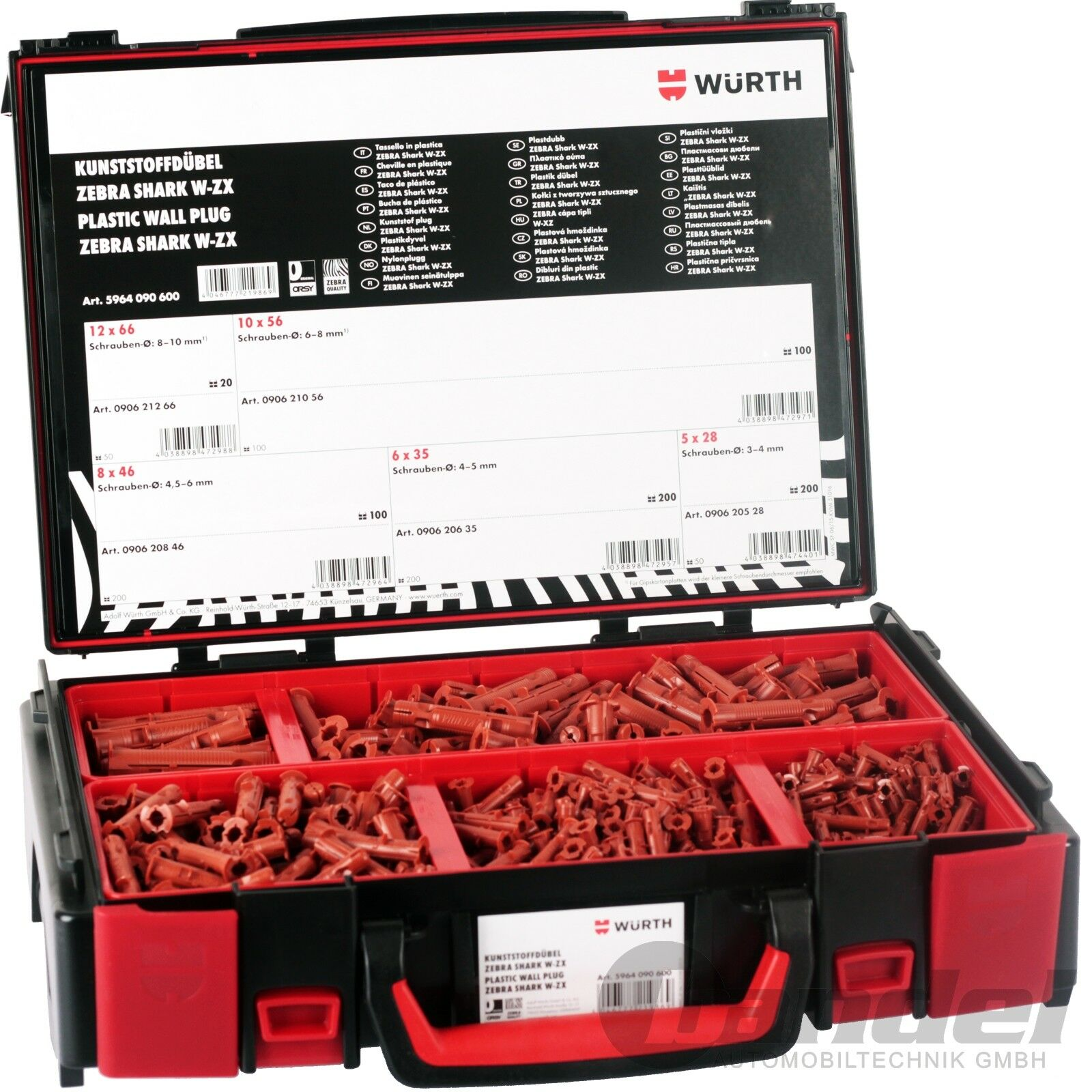 WÜRTH ORSY ZEBRA 620 tlg. WAND-DÜBEL SORTIMENT KOFFER 5, 6, 8, 10,12mm NYLON