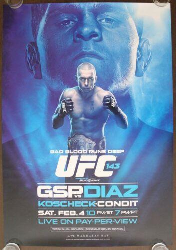 Near Mint Official UFC 143A St,Pierre vs Diaz Poster 27x39