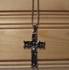 Cross stainless steel biker pendant & necklace