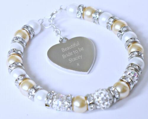 Bride to be Engraved Personalised Heart Charm Bracelet Bridal Wedding Gift