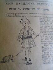 """PATRON ORIGINAL  POUPEE """" BLEUETTE """" ROBE CHIC AU CROCHET DE LAINE  NOVEMB 1916"""