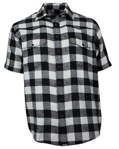 Das Bild wird geladen Freizeithemd-Herren-Flanell-Hemd-Kurzarm-Baumwolle -schwarz-weiss- c46d9d4c6b