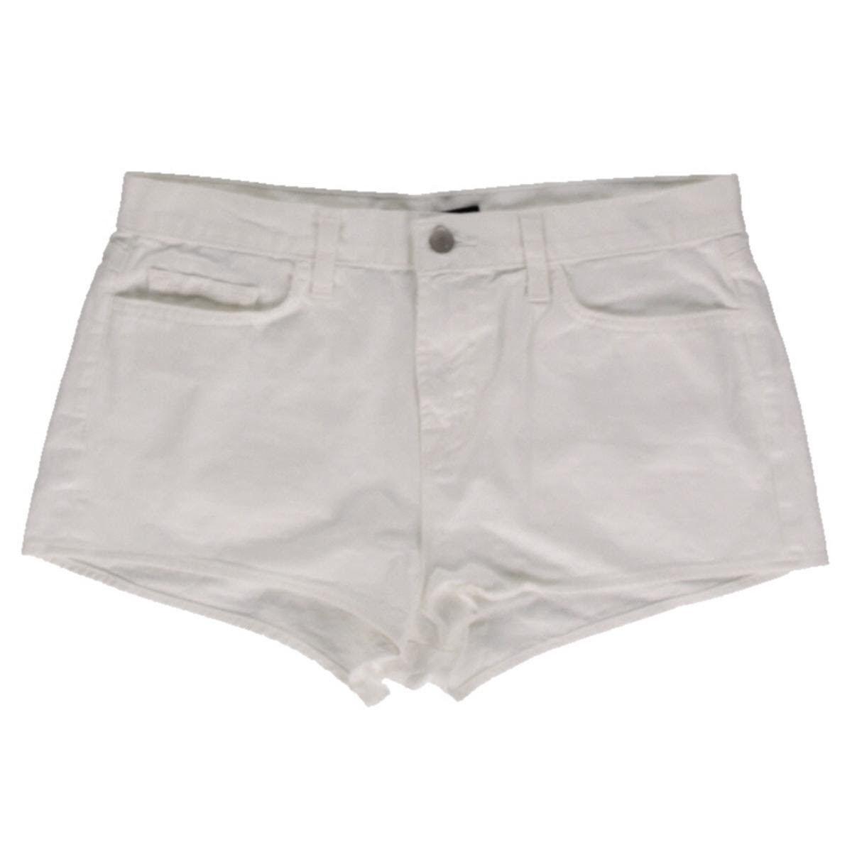 J Brand Shorts Hot Pants High-Rise Cuffed White Denim AU10 W28 US6 NEW Womens