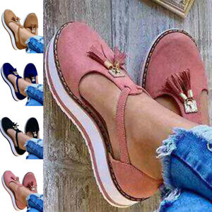 Women Fashion Sandals Tassels Suede Upper Round Toe Flats Casual Shoes Non-Slip