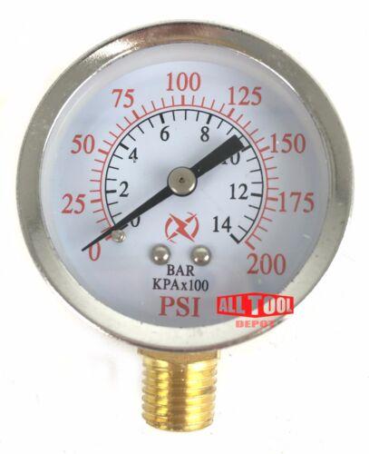 "Air Compressor Pressure Hydraulic Gauge 2/"" Face Side Mount 1//4/"" NPT 0-200 PSI"